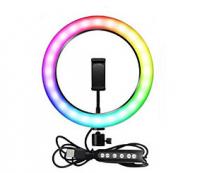Разноцветная кольцевая лампа RGB 26 см с держателем для телефона и штативом