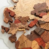 Карта Мира деревянная цветная  многоуровневая 130х78