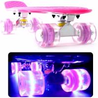 Скейтборд, пенни борд светящиеся колеса