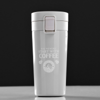 "Термокружка ""Мастер К. Start with coffee"", 380 мл, сохраняет тепло 6 ч, 17.5х8.5 см 4432402"
