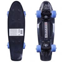"""Пластик. мини скейтборд чёрный, разм. деки 17""""х5"""", подвеска-чёрн.бабоч.PP, колеса PVC 50х30 мм, подшипники 608Z."""