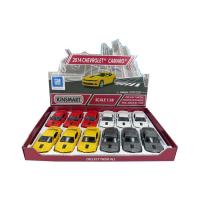 Машина металлическая Chevrolet Camaro, 1:38, открываются двери, инерция, цвет жёлтый