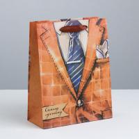 Пакет крафтовый вертикальный «Самому лучшему мужчине», M 26 × 30 × 9 см   3680941