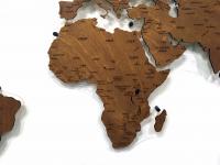 Карта Мира деревянная коричневая  одноуровневая 130х78