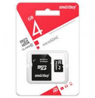 Карта памяти microSD Smartbuy 4GB + адаптер SD Class 10