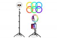Разноцветная кольцевая лампа RGB 20 см с держателем для телефона и штативом