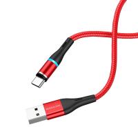 Кабель USB - Type-C BOROFONE BU16 1.2m в оплетке магнитный с инд.