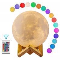"""Лампа-ночник """"Луна большая"""" с пультом управления. d15 см."""