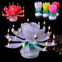 """Раскрывающаяся музыкальная свеча для торта """"Лотос"""""""